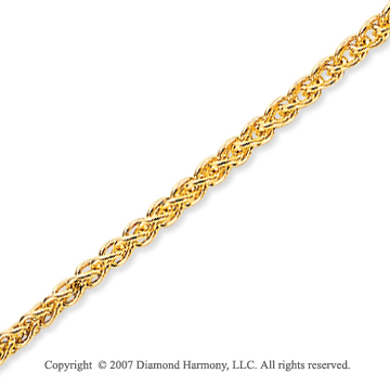 14k Yellow Gold Stylish Wide 2.10mm Round Wheat Chain