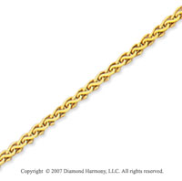 14k Yellow Gold Stylish Wide 2.00mm Round Wheat Chain