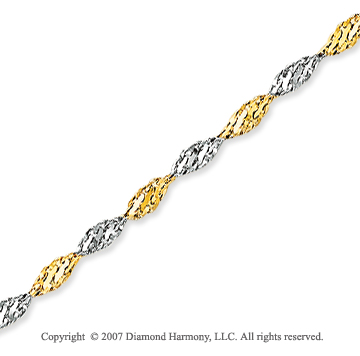 14k Two Tone Gold Stylish Wide 2.00mm Singapore Chain