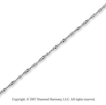 14k White Gold Classic Style Thin 0.80mm Singapore Chain
