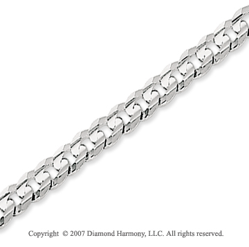 14k White Gold Classic Medium 4.00mm Concave Curb Chain