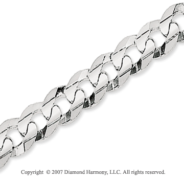 14k White Gold Classic Wide 7.00mm Concave Curb Chain