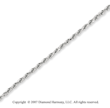 14k White Gold Elegant Style Thin 1.25mm Rope Chain