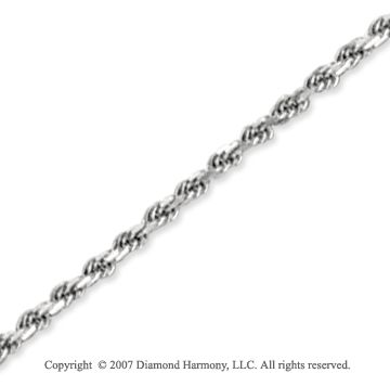 14k White Gold Elegant Style Thin 2.25mm Rope Chain