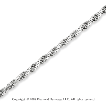 14k White Gold Elegant Style Thin 3.5mm Rope Chain