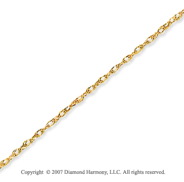 14k Yellow Gold Elegant Style Thin 1.00mm Rope Chain