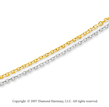 14k Two Tone  Gold Classic 3.00mm Multi Strand Chain Necklace