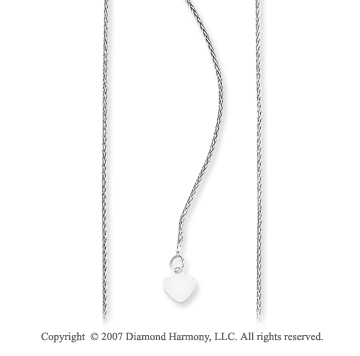 14k White Gold Classic 1.00mm Adjustable Heart Chain