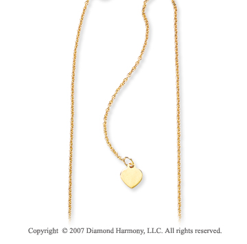 14k Yellow Gold Stylish 1.00mm Adjustable Heart Chain