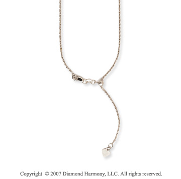 14k White Gold 22 Inch Adjustable Rope Chain Pendant