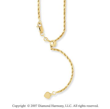14k Yellow Gold 24 Inch Adjustable Rope Chain Pendant