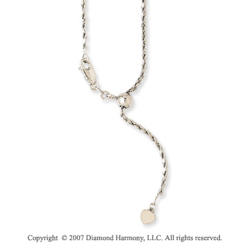 14k White Gold 24 Inch Adjustable Rope Chain Pendant