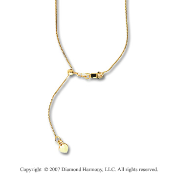 14k Yellow Gold 22 Inch Adjustable Box Chain Pendant