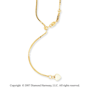 14k Yellow Gold 30 Inch Adjustable Box Chain Pendant