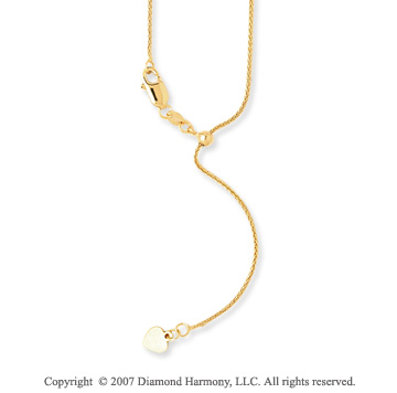 14k Yellow Gold 22 Inch Adjustable Wheat Chain Pendant