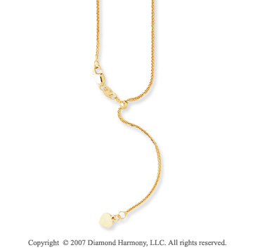 14k Yellow Gold 30 Inch Adjustable Wheat Chain Pendant
