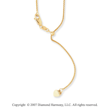 14k Yellow Gold Adjustable Quadra Wheat Chain Pendant