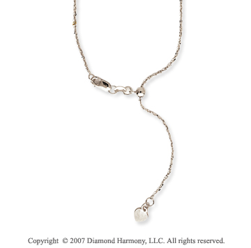 14k White Gold Adjustable Twisted Anchor Chain Pendant