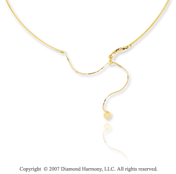 14k Yellow Gold Adjustable Snake Wire Chain Pendant