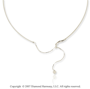 14k White Gold Adjustable Snake Wire Chain Pendant