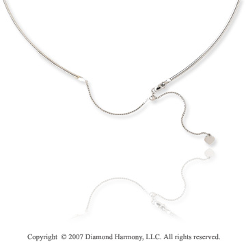 14k White Gold 16 20 Inch Adjustable Omega Chain Pendant