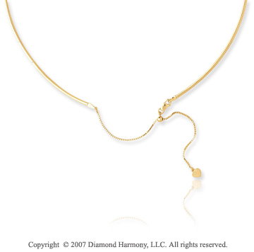 14k Yellow Gold 16 20 Inch Adjustable Omega Chain Pendant