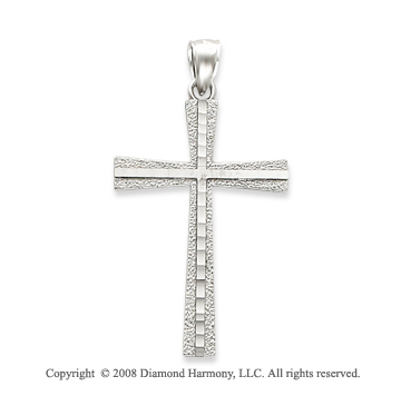 Simple Stylish 14k White Gold Modern Cross Pendant