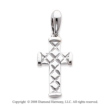 14k White Gold Unique Tube Carved Cross Pendant