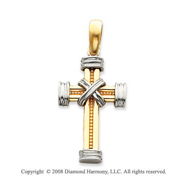 Finely Carved 14k Two-Tone Tube Cross Pendant