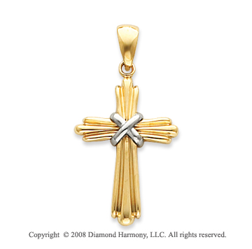 14k Two-Tone Shining Plain Polished Cross Pendant