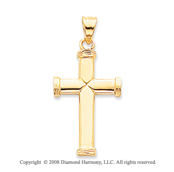 14k Yellow Gold Unique Tube Small Cross Pendant