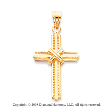 14k Yellow Gold Sparkling Cross on Cross Pendant