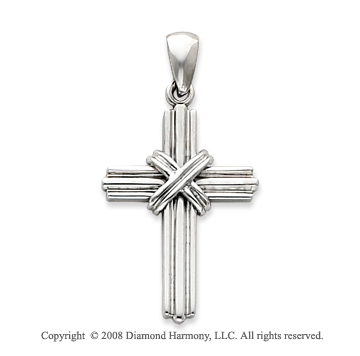 14k White Gold Shining Plain Polished Cross Pendant
