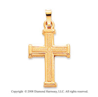 14k Yellow Gold Sleek Design Carved Cross Pendant