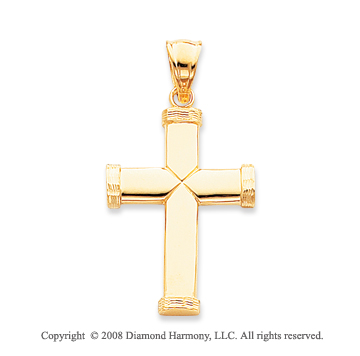 14k Yellow Gold Unique Carved Tube Small Cross Pendant