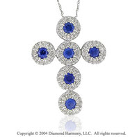 14k White Gold Blue Sapphire .60 Carat Diamond Cross Pendant