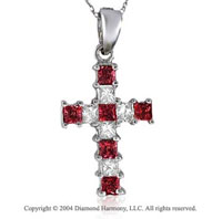 14k White Gold Princess Ruby 1/2 Carat Diamond Cross Pendant