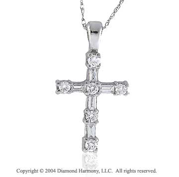 14k Diamond 3/4 Carat Baguette Cross Pendant Necklace