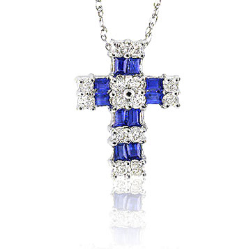 14k White Gold Blue Sapphire 1/3 Carat Diamond Cross Pendant