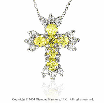 14k White Gold Yellow Sapphire 1/4 Carat Diamond Cross Pendant