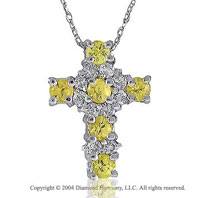 14k White Gold Yellow Sapphire 1/5 Carat Diamond Cross Pendant