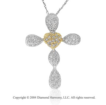 14k Two Tone Gold .35 Carat Pave Diamond Cross Pendant