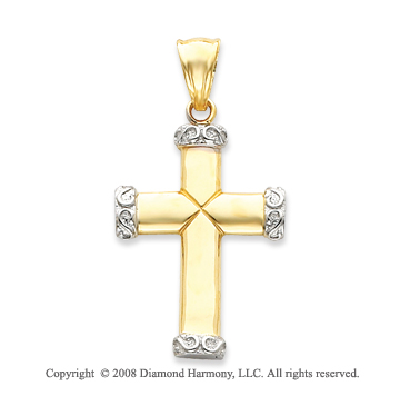 14k Two-Tone Stylish Tube Cross Pendant