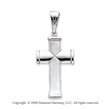 14k White Gold Shiny Elegant Polished Cross Pendant