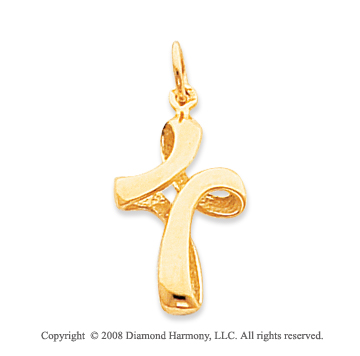 High Style 14k Yellow Gold Curved Cross Pendant