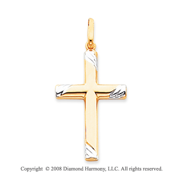 14k Two-Tone Divine Plain Polished Cross Pendant