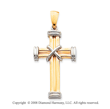 14k Two-Tone Unique Carved Tube Small Cross Pendant