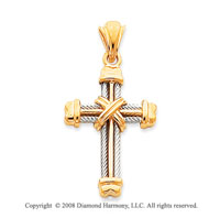 Rope Design 14k Two-Tone Amazing Cross Pendant