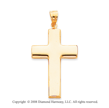 Perfect 14k Yellow Gold Polished Cross Pendant