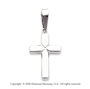 Perfect 14k White Gold Polished Cross Pendant